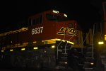 BNSF 6637 lights up her BNSF swoosh Logo as she patiently waits to roll eastbound pushing the Z LAC-CLO. 
